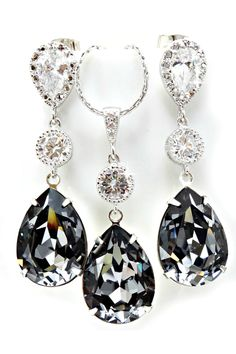 Swarovski Silver Night jewelry set Bridal Earrings, Drop Earrings, Wedding Day Jewelry, Bride Necklace, Jewelry Box, Unique Jewelry, Bridesmaid Gifts, Swarovski Crystals, Pendant Necklace