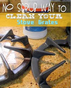 Got grime?? Here's a frugal {and effective} way to clean your stove burners and grates! No Scrub Needed.. how cool is that?