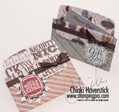Gift card holders using envelope line dues from Stampin' Up!