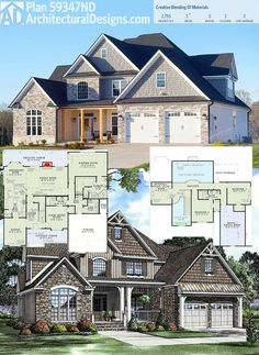 Architectural Designs House Plan 59347ND comes to life with a stone, shingle and board-and-batten siding. Over 2,700 square feet of living. Ready when you are. Where do YOU want to build?