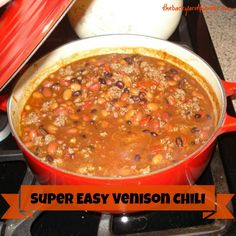 Pin tested Super Easy Venison Chili, we didn't have any more elk meat so I just used hamburger. Venison Chili Recipe Easy, Elk Chili Recipe, Dutch Oven Chili Recipe, Venison Recipes, Hamburger Meat Recipes, Venison Meals, Deer Recipes, Chili Recipes, Game Recipes