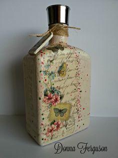 Upstyled Bottle #decoupage #bottles https://www.facebook.com/Handmade-With-Love-In-NIreland-145237172246665/
