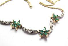 Vintage Emerald Diamond  Necklace