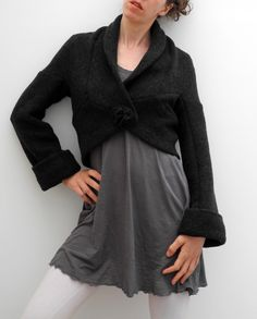 wrap oversized bolero, cardigan, jacket made in extra soft and elastic boiled wool in dark olive green. €95,00, via Etsy.