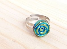 Sweet green and blue flower adjustable ring by CraftingAwayTheFeels on Etsy