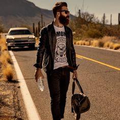 Levi Stocke - full thick beard bearding beards bearded man men fashion clothes mens' style model campaign #beardsforever