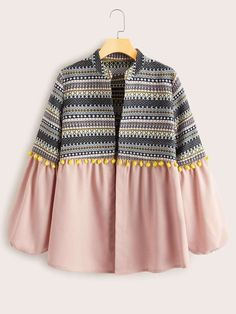 Check out this Aztec Print Pom Pom Detail Coat on Shein and explore more to meet your fashion needs! Pakistani Dresses Casual, Indian Fashion Dresses, Indian Designer Outfits, Girls Fashion Clothes, Teen Fashion Outfits, Jeans Fashion, Stylish Dresses For Girls, Stylish Dress Designs, Designs For Dresses