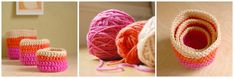 Crochet Nesting Cups - simple and easy and very versatile. Love these colors.
