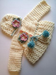 Handmade crocheted baby sweater and hat set infant by nessjude16, $35.00: