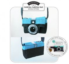 Retrotastic Camera Camera Bag styled after the Diana camera. Designed by Happy Sew Lucky. Fabric panel available here:  http://www.spoonflower.com/designs/797179