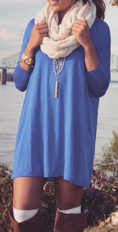 #fall #fashion / light blue dress + scarf