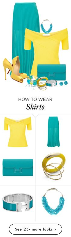 """""""Turquoise Maxi Skirt"""" by ccroquer on Polyvore featuring Christian Louboutin, Sandro, Hermès, Bar III, Natasha and Humble Chic"""