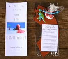 Just-add-water Erupting Volcano Kit Dinosaur Valentine for Kids - you can make this with items from The Dollar Tree!  Free printables included in post.  From Fun at Home with Kids