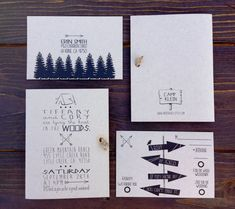Woodsy, Rustic, Wedding or Bridal Shower Invitation. Tying the Knot theme. Camping Invitation. Woods. Kraft Paper.