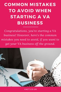 Congratulations, you're starting a VA business! However, there's lots of common mistakes you need to avoid, if you want to get your business off the ground. Here's 17 mistakes most new startups will make, and how to avoid them by Amanda Johnson of VACT. Start Up Business, Starting A Business, Business Planning, Business Tips, Online Business, Virtual Assistant Services, Business Profile, Busy At Work, Pinterest For Business