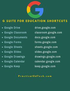 G Suite for Education Shortcuts Free Technology for Teachers: G Suite for Education Shortcuts. Educational Websites, Educational Technology, Educational Crafts, Teaching Technology, Technology Quotes, Technology Tools, Teaching Biology, Business Technology, Business Education
