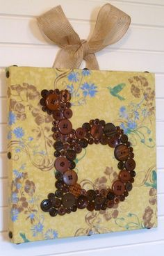 button monogram, fabric wrapped canvas -- etsy shop letterperfectdesigns