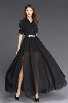 Chiffon Dress 2018 Black And White Long Dress European Style Fashion Robe Femme Side Slit Maxi Women Dress With Belt Vestidos This sizing information is just Short Beach Dresses, Sexy Dresses, Casual Dresses, Fashion Dresses, Chiffon Dresses, Woman Dresses, Chiffon Vestidos, Evening Dresses, Summer Dresses