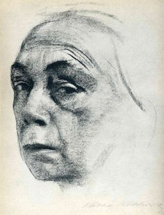Käthe Kollwitz, Self-Portrait, 1924. Lithgraph drawing.