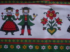 Vintage 70s Dutch Scandinavian Folk Art People & Flowers cotton fabric