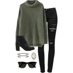 to shop this Look! Chunky olive sweater paired with distressed black jeans, black booties and on trend accessories for a put together fall and winter outfit. Mode Outfits, Fashion Outfits, Womens Fashion, Fashion Ideas, Fashion Styles, Fashion Trends, Fashion 2016, Fashion Lookbook, Outfits For Girls