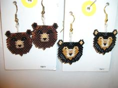 Grizzly n Black Bear Earrings O Beaded Earrings Patterns, Bead Loom Patterns, Weaving Patterns, Seed Bead Jewelry, Seed Bead Earrings, Beaded Jewelry, Beading Ideas, Beading Projects, Juniper Tree