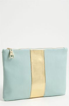 Steve Madden mint and gold clutch