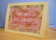 Anniversary Card Hand Stitched Card. Happy by KezylouToo on Etsy, £3.00
