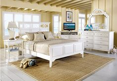 Shop for a Cindy Crawford Home  Seaside White Panel  5 Pc King Bedroom at Rooms To Go. Find Bedroom Sets that will look great in your home and complement the rest of your furniture. #iSofa #roomstogo