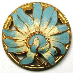 """Antique Pierced Brass Button Art Nouveau Flower w/ Painted Accents 7/8"""""""
