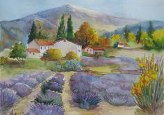 Original watercolor Landscape of provence Lavender Field Landscape Painting Wall Decor by ArtannaStore on Etsy https://www.etsy.com/listing/530633685/original-watercolor-landscape-of