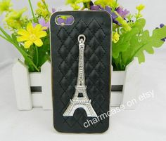 Leather iPhone case,iPhone case,Eiffel Tower,iPhone 5/5s case,iPhone 5C case,iPhone 4/4s case,black leather for iphone 4 iphone 4s iphone 5