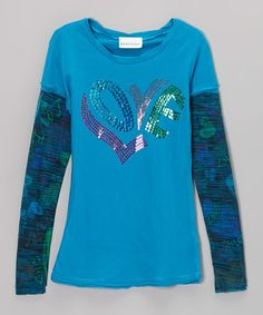 Loving this Turquoise Sequin 'Love' Layered Tee - Girls on #zulily! #zulilyfinds