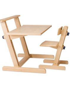 Adjustable desk for kids, made in beech wood, in Romania. #wood #desk #adjustable #kids