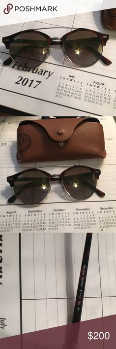 Ray ban clubround double bridge tortoise Perfect condition! No scratches or anything. Includes sunglasses and ray ban case. Ray-Ban Accessories Sunglasses