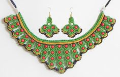Green with Yellow and Black Macrame Thread Necklace and Earrings with Red Beads (Thread))