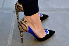 Gorgeous Snakeskin Shoe with cobalt accent