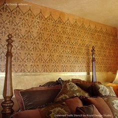 Large Wall Stencil | Entwined Trellis | Royal Design Studio