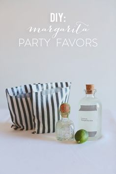 {diy marg favors} | black & white striped bags and straws available on simplysouthernwedding.com