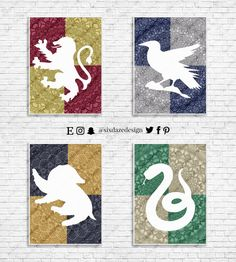 Harry Potter House Banners Wall Art Art Print by sixdazedesign