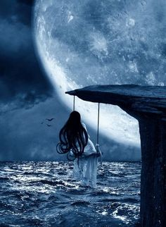 I wish... cliff swinging over ocean under the moon