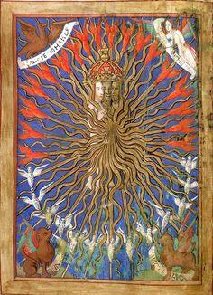 (?La Trinité et les 4 évangélistes) (f°10v). -- Book of Hours, England, c. 1501-1510 [BL Ms Royal 2 B XV].