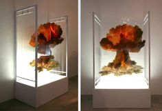 Catastrophic Disasters Recreated as Layered frames of plexiglass. Each layer creates a 3D layered effect, giving it an entirely different, sliced perspective from the side and full on explosion appears looking at it straight on.