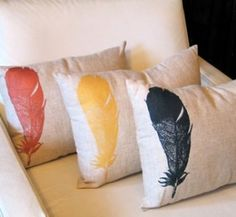Feather Throw Pillows by annabelle