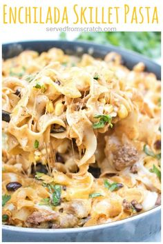This Enchilada Skillet Pasta is loaded with flavor and cheese making it a delicious easy and comfort food at its finest! This Enchilada Skillet Pasta is loaded with flavor and cheese making it a delicious easy and comfort food at its finest! Pastas Recipes, Top Recipes, Mexican Food Recipes, Dinner Recipes, Cooking Recipes, Healthy Recipes, Dinner Ideas, Delicious Recipes, Healthy Meals