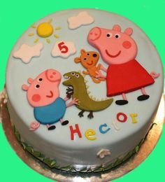 Tarta Peppa Pig, Peppa Pig cake - Cake by Machus sweetmeats Tortas Peppa Pig, Fiestas Peppa Pig, Peppa Pig Birthday Cake, Birthday Party Snacks, Fondant Cakes, Cupcake Cakes, George Pig Cake, Character Cakes, Novelty Cakes