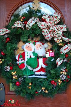 Another great decorating idea - this Annalee Claus Couple has been added to a holiday wreath.