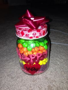 V-Day Gift for him All his favorite candy in a jar.