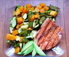 salmon, roasted vegetables and avocado slices