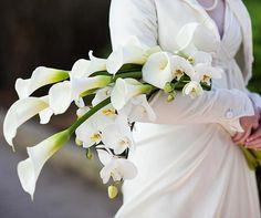 This arm-held bouquet includes calla lilies and orchids. Calla Lily Bouquet, Hand Bouquet, Calla Lillies, Bridal Flowers, Flower Bouquet Wedding, Bride Bouquets, Floral Bouquets, Lys Calla, Flower Meanings